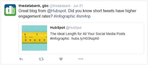 Screenshot of a tweet from thedatabank quoting a tweet from Hubspot