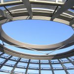 A framework showing blue sky through the top