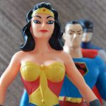 wonderwoman, superman, and batman action figures