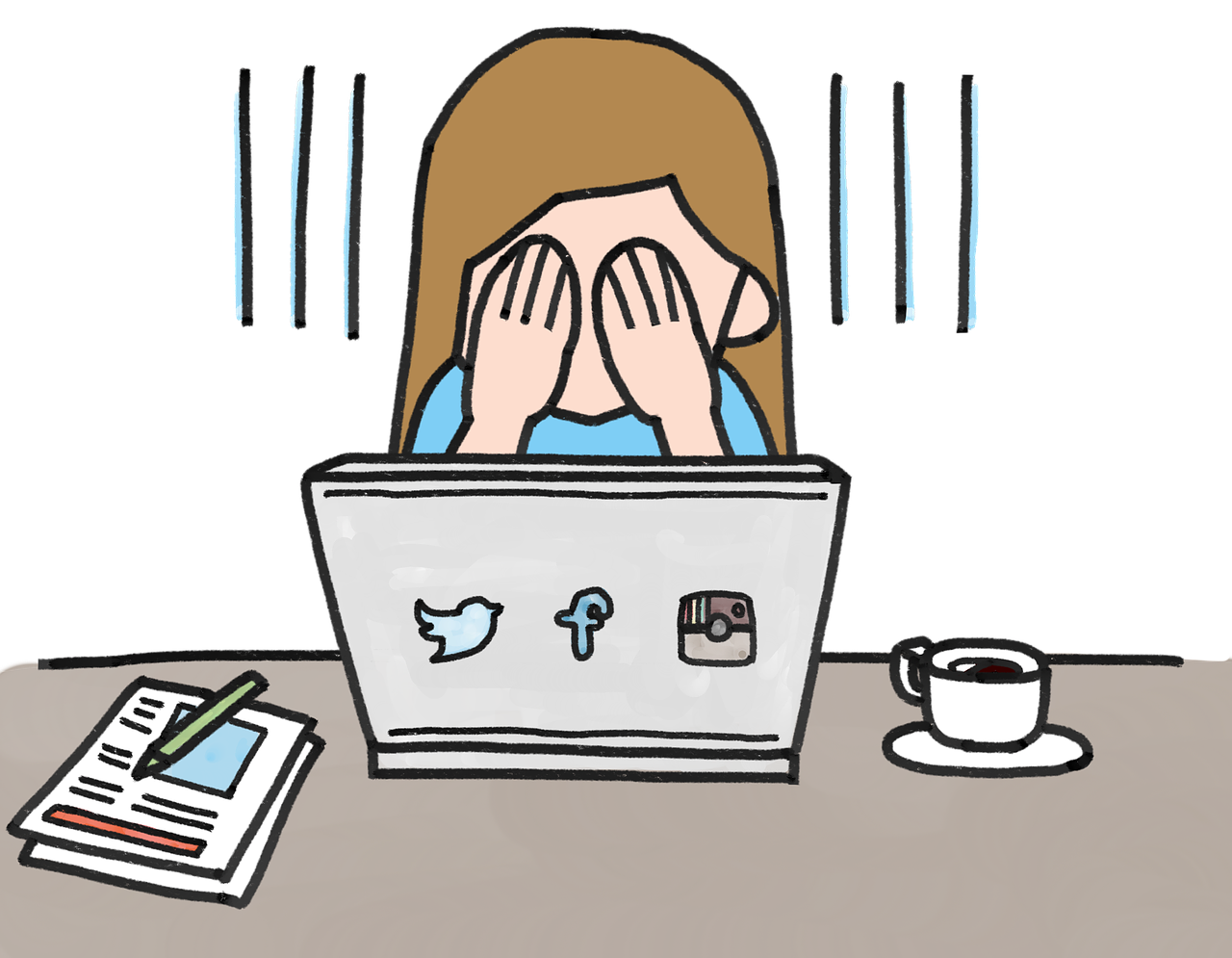 cartoon of a woman covering her eyes in sadness or frustration while sitting at a laptop